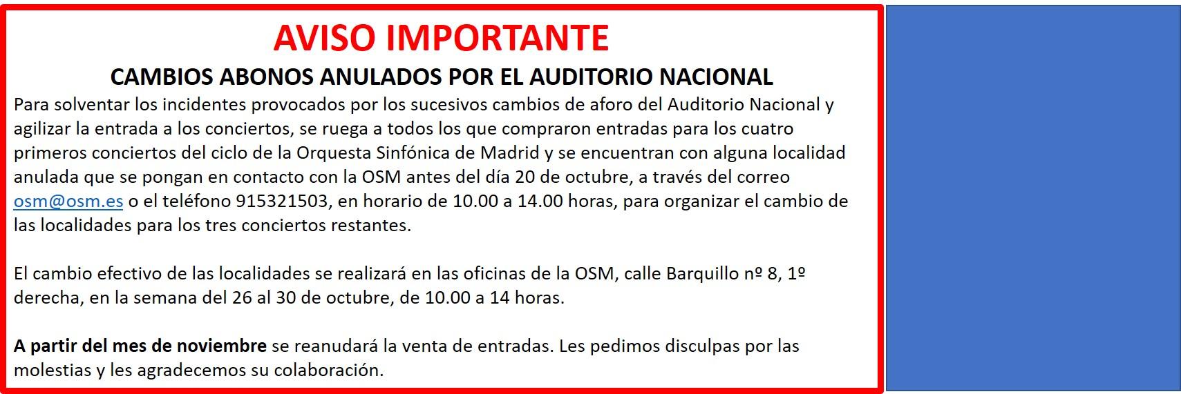 COMUNICADO OSM - 14 OCTUBRE
