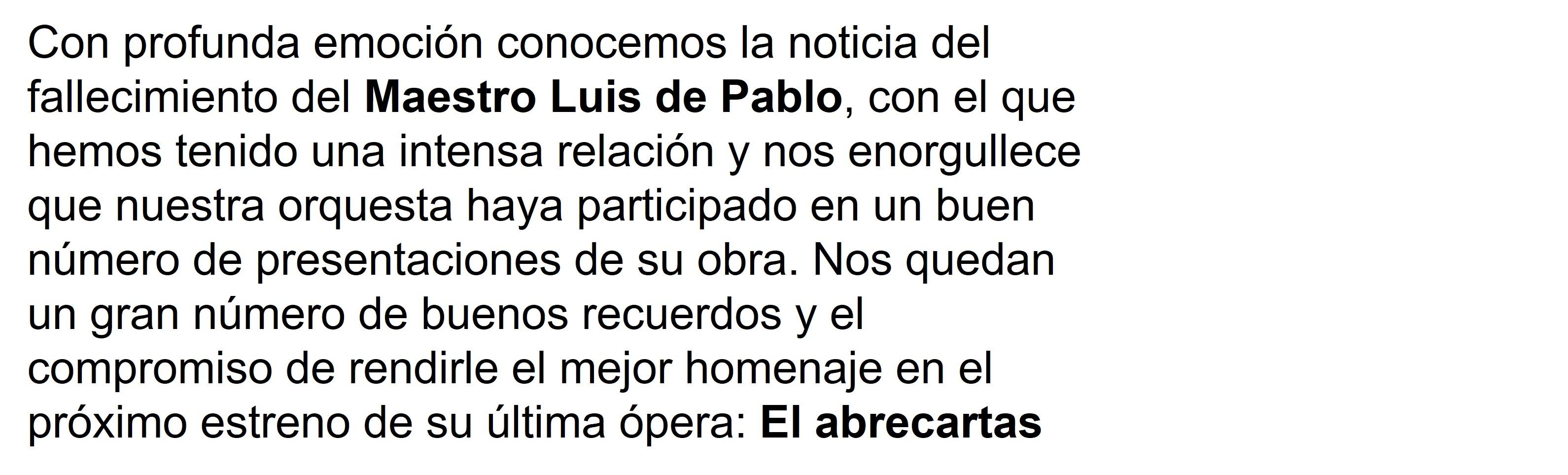 FALLECE EL MAESTRO LUIS DE PABLO